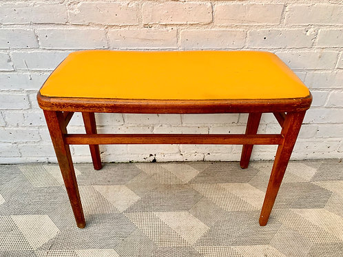 Vintage Wooden Stool Yellow Vinyl #D343