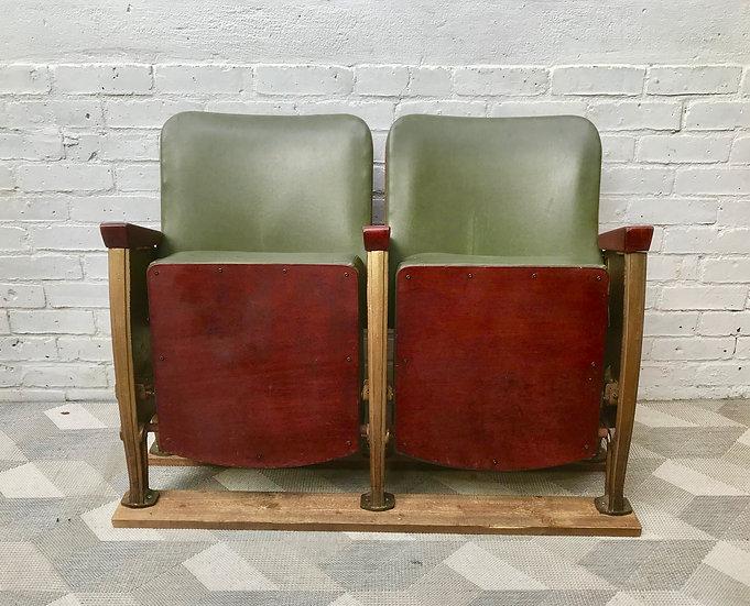 Vintage Cinema Theatre Seats Green Vinyl  #833