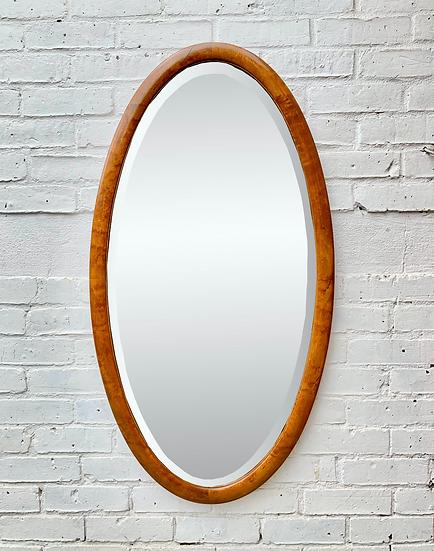 Large Oval Bevelled Mirror Wood Frame #D239