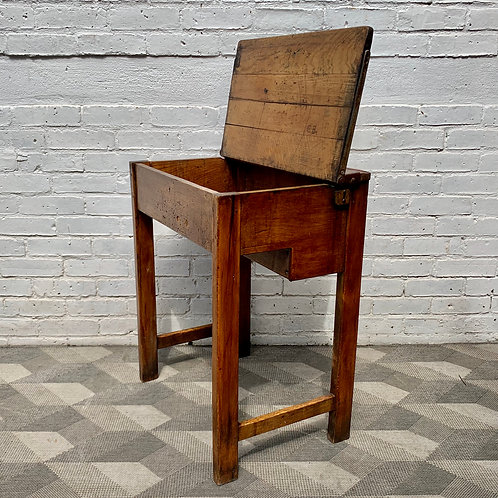 Vintage Wooden School Desk with Storage