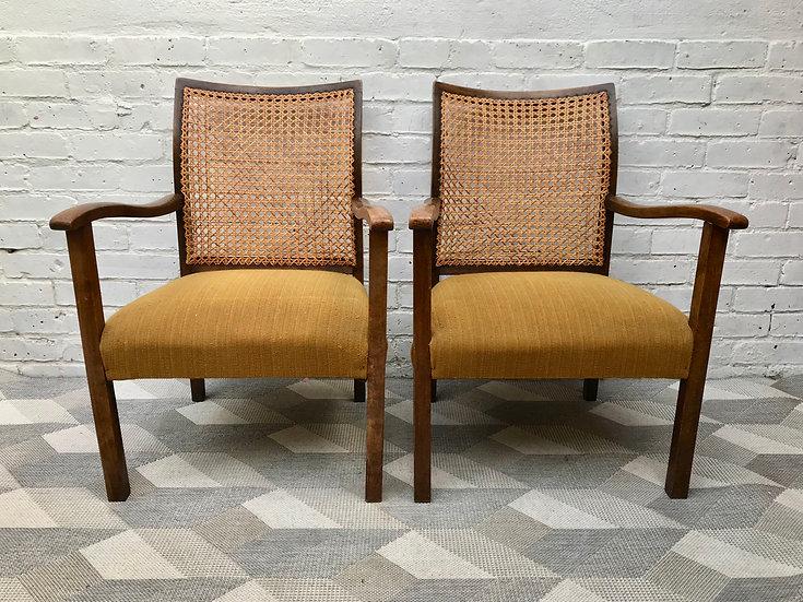 Pair of Art Deco Armchairs Wicker Rattan #677