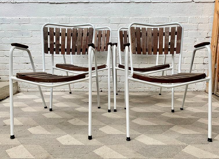 Vintage Danish Garden Chairs Stacking Teak by Daneline