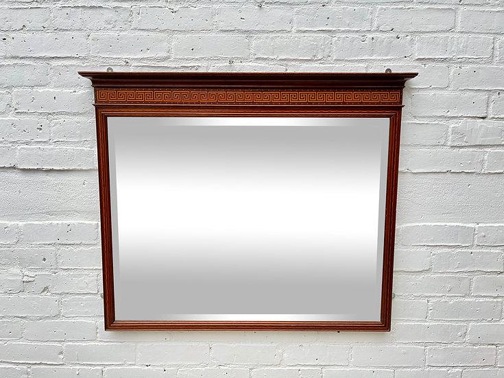 Antique Mantelpiece Bevelled Mirror Mahogany Frame