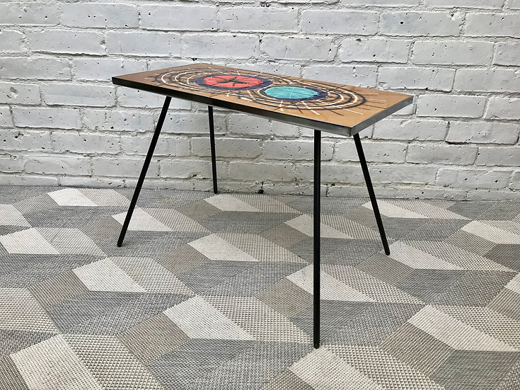 Mid Century Belgian Vallauris Tiled Coffee Table #590