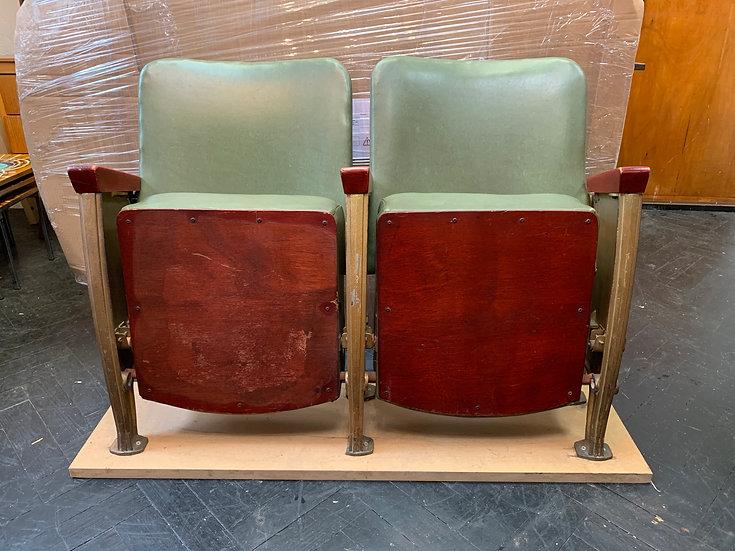 Vintage Cinema Theatre Seats Green Vinyl #D175