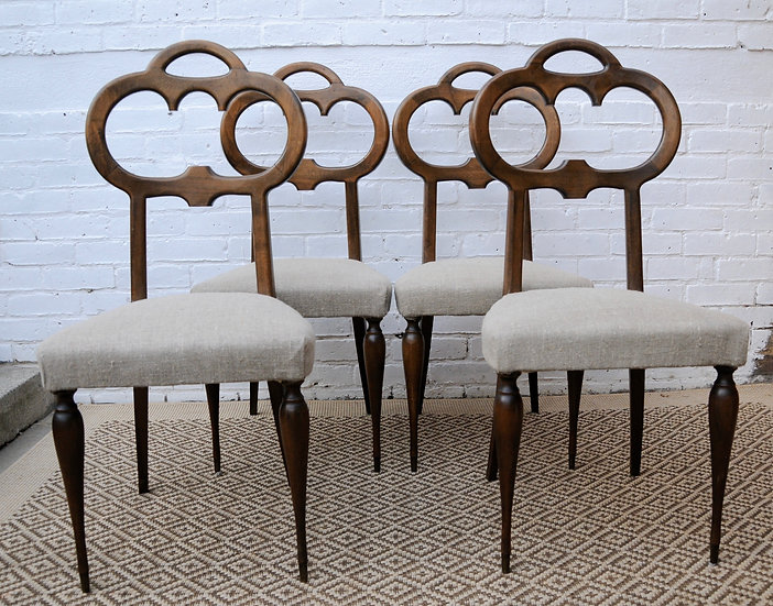 SET of 4 VINTAGE ITALIAN DINING CHAIRS 1960s Ca.