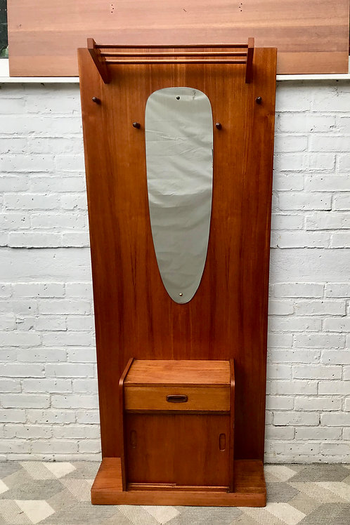Vintage Hall Coat Hat Stand Mirror Teak #759