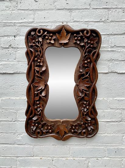 Vintage Carved Wall Mirror Wood #D86