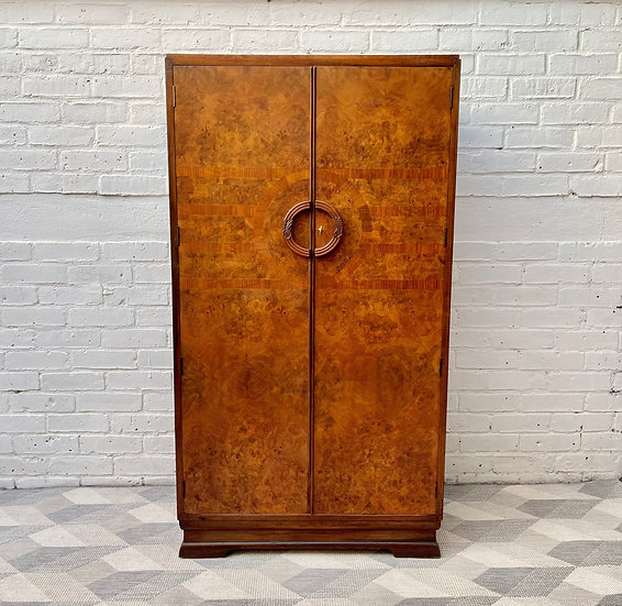 Art Deco Compactum Wardrobe Cupboard in Walnut front