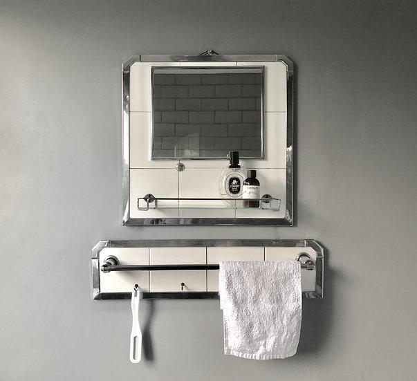 Vintage Bathroom Mirror and Towel Rail #419