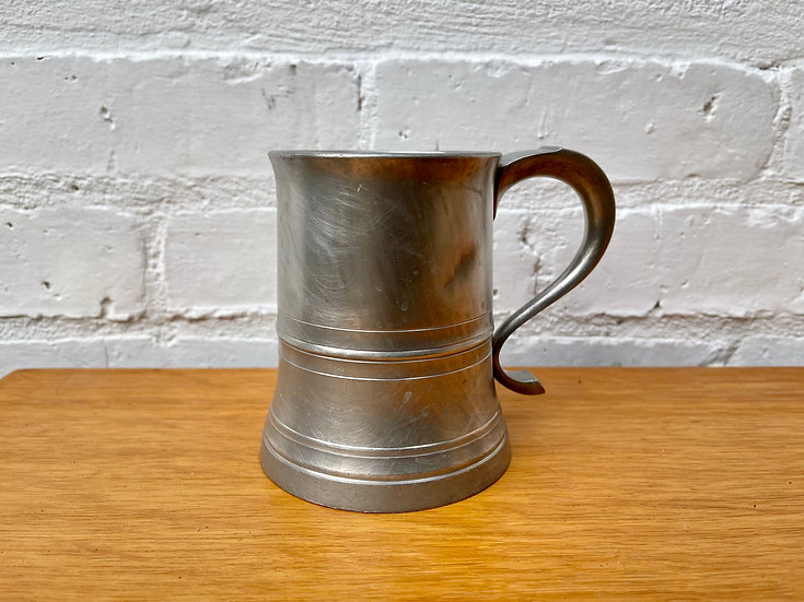 Vintage Pewter Glass Bottom Tankard by Crown & Rose front