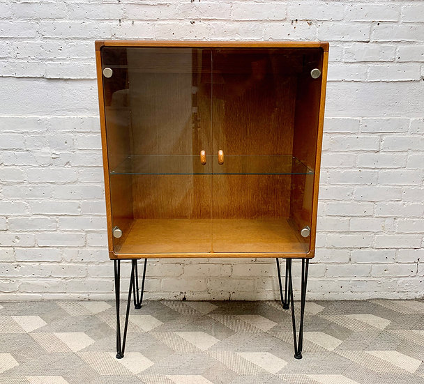 Vintage Drinks Glass Cabinet Bookshelf Cupboard by Stag