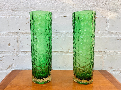 Pair of Vintage Green Bark Glass Vases front