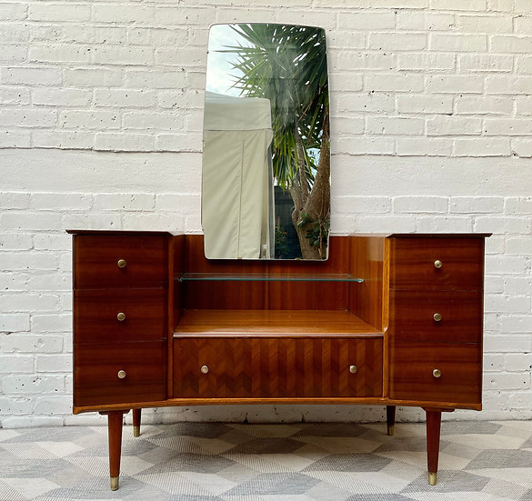 Vintage Dressing Table with Mirror by Uniflex #D520