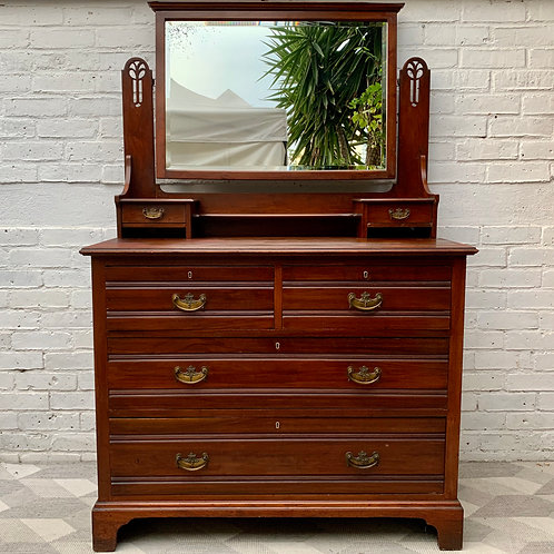Large Arts and Crafts Dressing Table Drawers with Mirror #D471