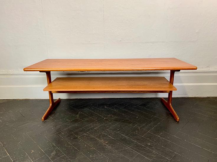 Vintage Teak Coffee Table with Shelf #D41
