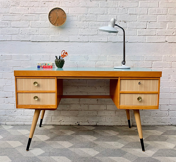Vintage Desk with Drawers and Formica