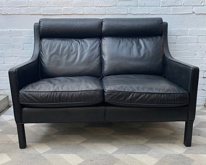 Black Leather 2 Seater Sofa Settee by Restoration Hardware