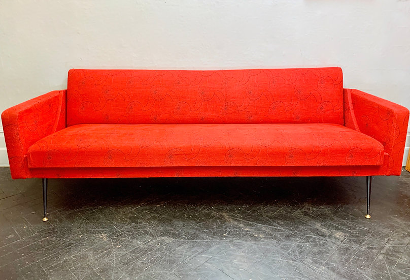 Vintage 3 Seater Sofa Bed Settee Red