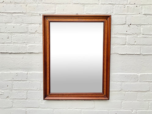 Vintage Wall Mirror Rectangular Marquetry Wood Frame #D494