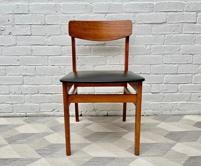 Vintage Dining Chair Black Vinyl Teak Frame