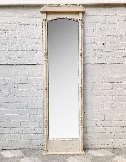 Vintage Full Length Mirror White Wood Frame #638