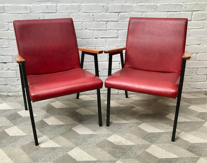Vintage Pair of Side Chairs Armchairs Red Vinyl #809