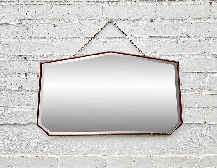 Vintage Heptagon Wall Mirror Wood Frame #D213