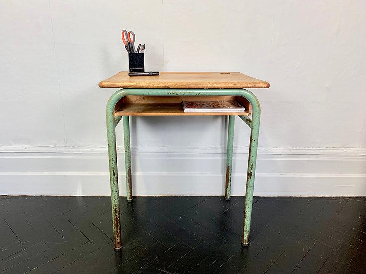 Vintage French School Desk Wood Metal #929