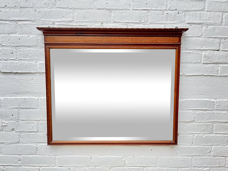 Antique Mantelpiece Bevelled Mirror Mahogany Frame front