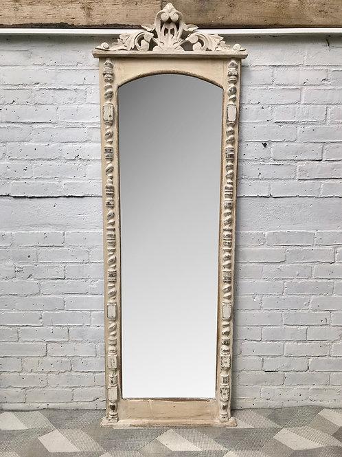 Vintage Full Length Mirror White Wood Frame French #650