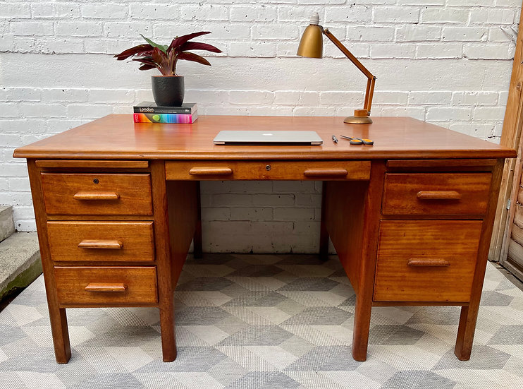 Large Vintage Wooden Desk with Drawers