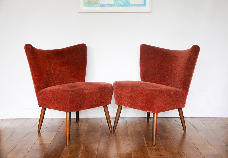 PAIR OF RED VINTAGE COCKTAIL CHAIRS