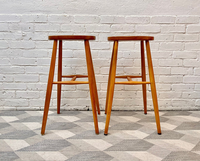 Pair of Vintage Wooden Bar Stools front