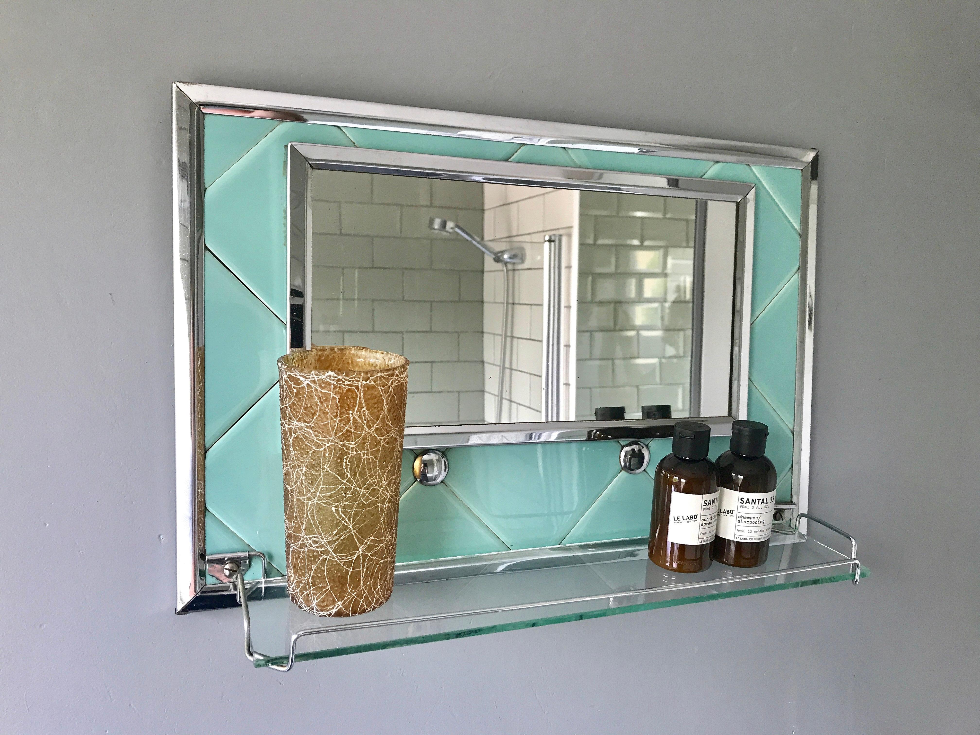 Vintage Retro Bathroom Mirror With Shelf 344