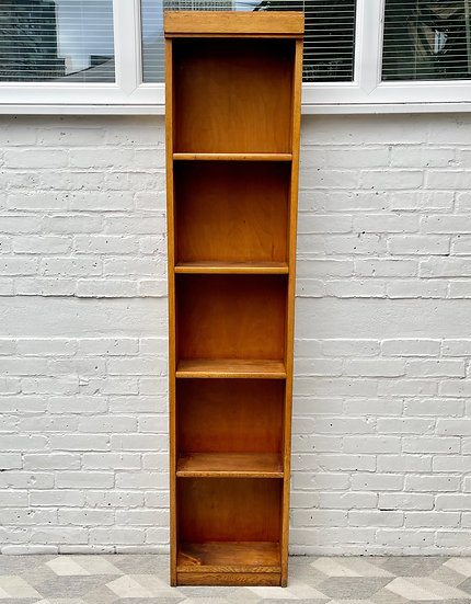 Vintage Tall Thin Oak Bookcase Shelves front