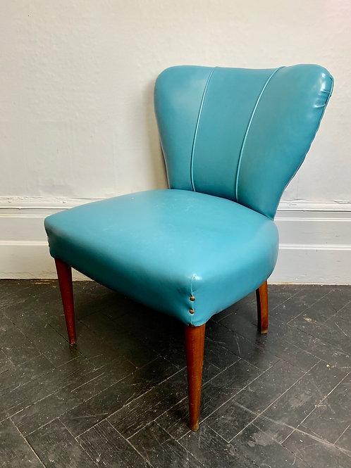 Vintage Italian Cocktail Chair Blue Vinyl #980