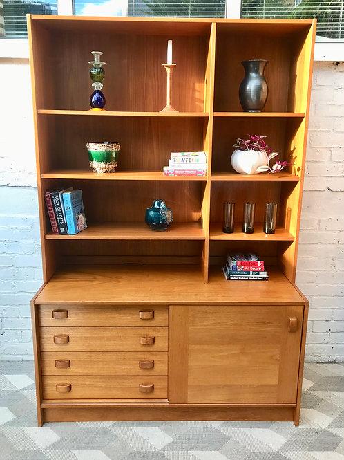 Vintage Highboard Sideboard Cabinet Bookshelf Danish #847