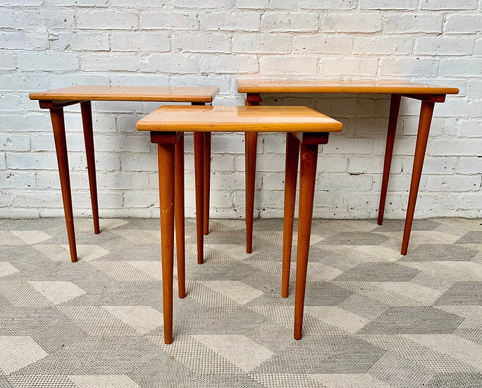 Vintage Nested Wooden Tables open