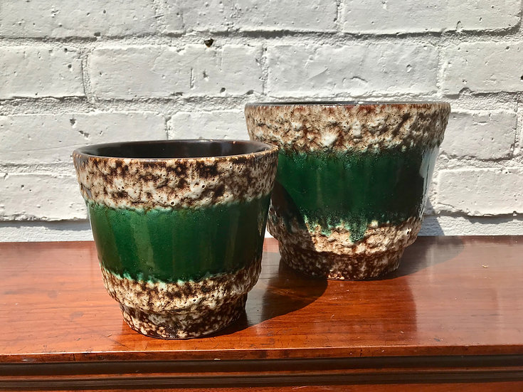 Mid Century West German Plant Pots Pair Green #631