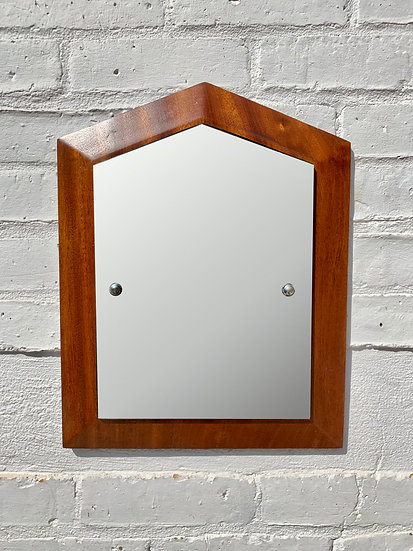 Vintage Small Wall Mirror Teak Frame front