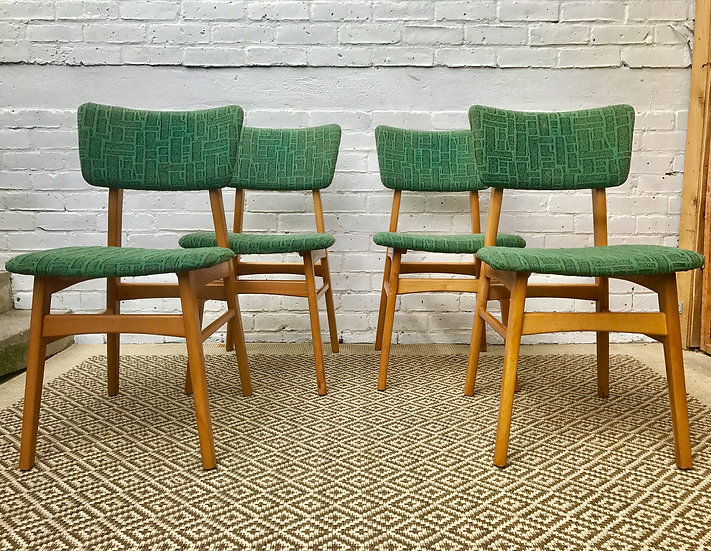 4 x GREEN MID CENTURY DINING CHAIRS