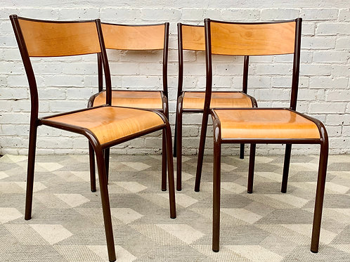 Set of 4 Vintage School Chairs Stacking French #D3