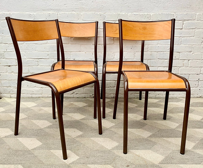 Set of 4 Vintage School Chairs Stacking French