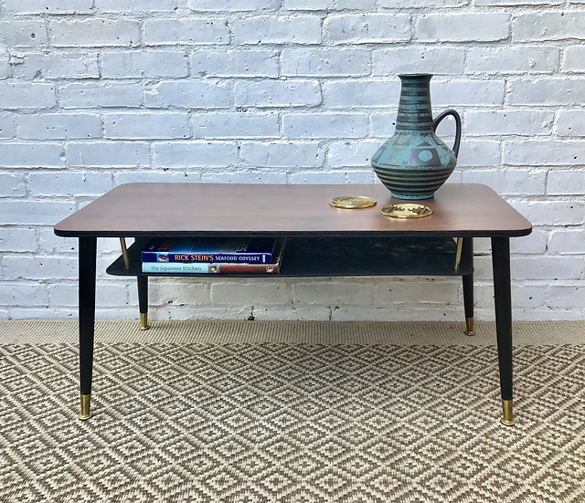 Vintage Coffee Side Table With Lower Shelf #407
