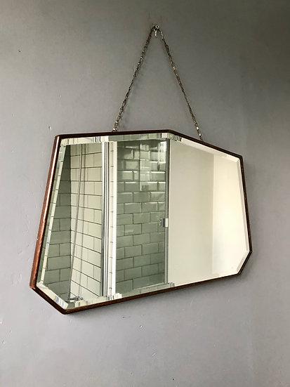 Vintage Octagonal Wall Mirror Wood Frame #573