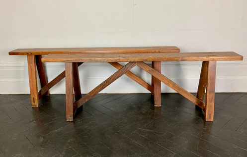 Pair Of Antique Wooden Benches French Dining 918