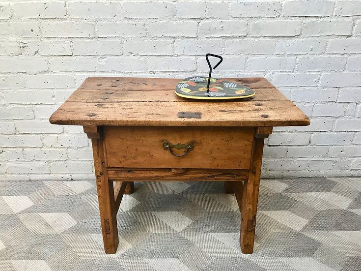 Farmhouse Wooden Side Table With Drawer French #873