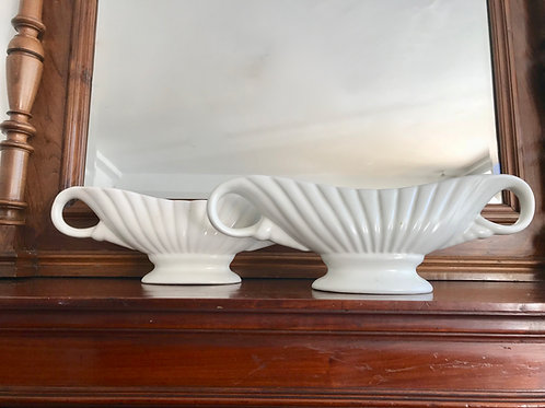 Pair of White Mantelpiece Vases by Arthur Wood #760