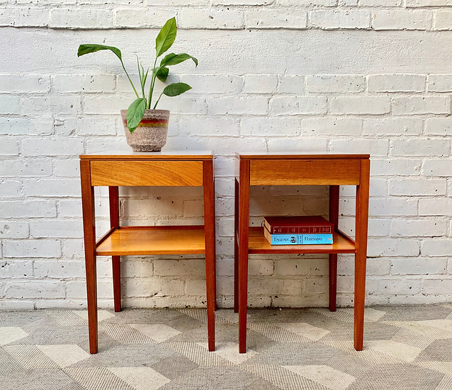 Pair of Vintage Bedside Tables with Drawers by Remploy